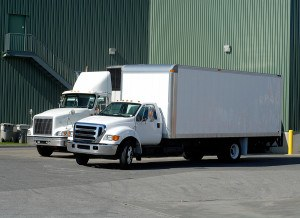 commercial trucks backing up