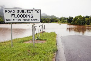 flood road warning sign