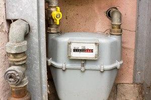 nastural gas meter on home