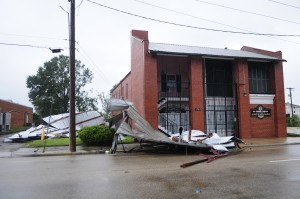 Hurricane Gustav hit the city of Baton Rouge with 100 mph plus winds and took the roof off of the Alpha Kappa Alpha alumni-house in the downtown area. Barry Bahler/FEMA