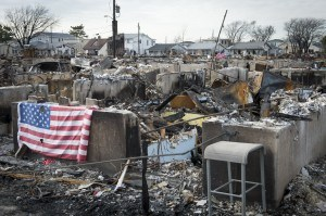 Breezy Point, N.Y. Over 100 houses burned to the ground as flood waters isolated the community from firemen. Oct. 29, 2012. (U.S. Navy photo by Chief Mass Communication Specialist Ryan J. Courtade/Released)