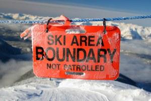 skier warning sign