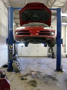 car in auto body shop