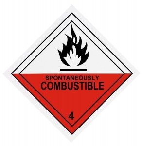 Spontaneous Combustion Warning Label