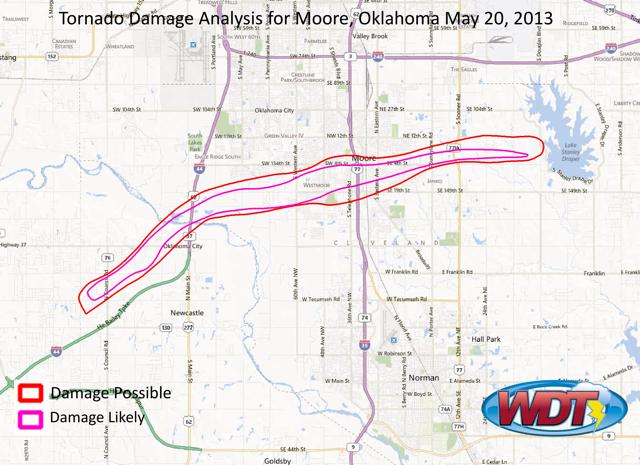 Moore, Okla, 2013 tornado analysis. Credit: WeatherForensics