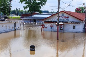 A business near the Mississippi River is flooded by high waters. Steve Zumwalt/FEMA