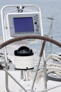 Rudder, compass and GPS on a sailboat