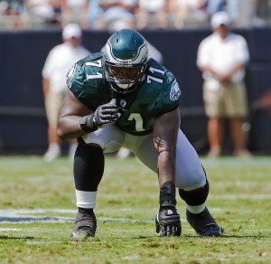 13 September, 2009:  Philadelphia Eagles Left Tackle, Jason Peters, gets ready for a play against the Carolina Panthers at the Bank of America Stadium in Charlotte, NC.