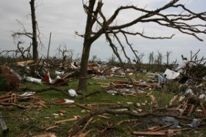 The most severe damage caused by the EF5 tornado that struck Joplin, Mo., on May 22, 2011, occurred on flat terrain or when the tornado was moving uphill. Photo: Matt McGowan, University of Arkansas