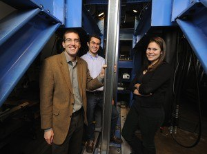 Researcher Ben Schafer (left), doctoral student Kara Peterman (right) and former graduate student Luiz Vieira study how seismic forces affect mid-rise cold-formed-steel buildings. Photo: Will Kirk/Homewoodphoto.jnu.edu