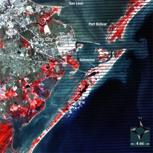 Land satellite imagery of Galveston, Texas on 9/28/2008 AFTER Hurricane Hike. Credit: NASA/Landsat/USGS/Mike Taylor.