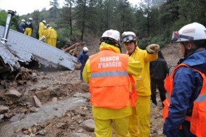 Search and rescue operations are conducted  in the hard hit mountain town of Jamestown. Photo: Michael Rieger/FEMA