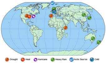"""Location and type of events analyzed in """"Explaining Extreme Events of 2012 from a Climate Perspective."""" Credit: NOAA"""