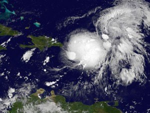 Gabrielle over Puerto Rico, at 5 a.m. EDT Gabrielle had maximum sustained winds near 40 mph. Image Credit:  NASA GOES Project