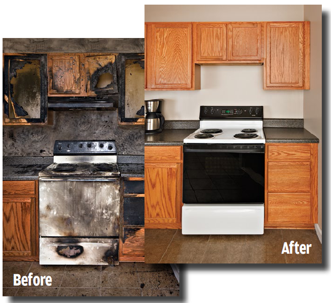 Before And After: Fire Damaged Kitchen