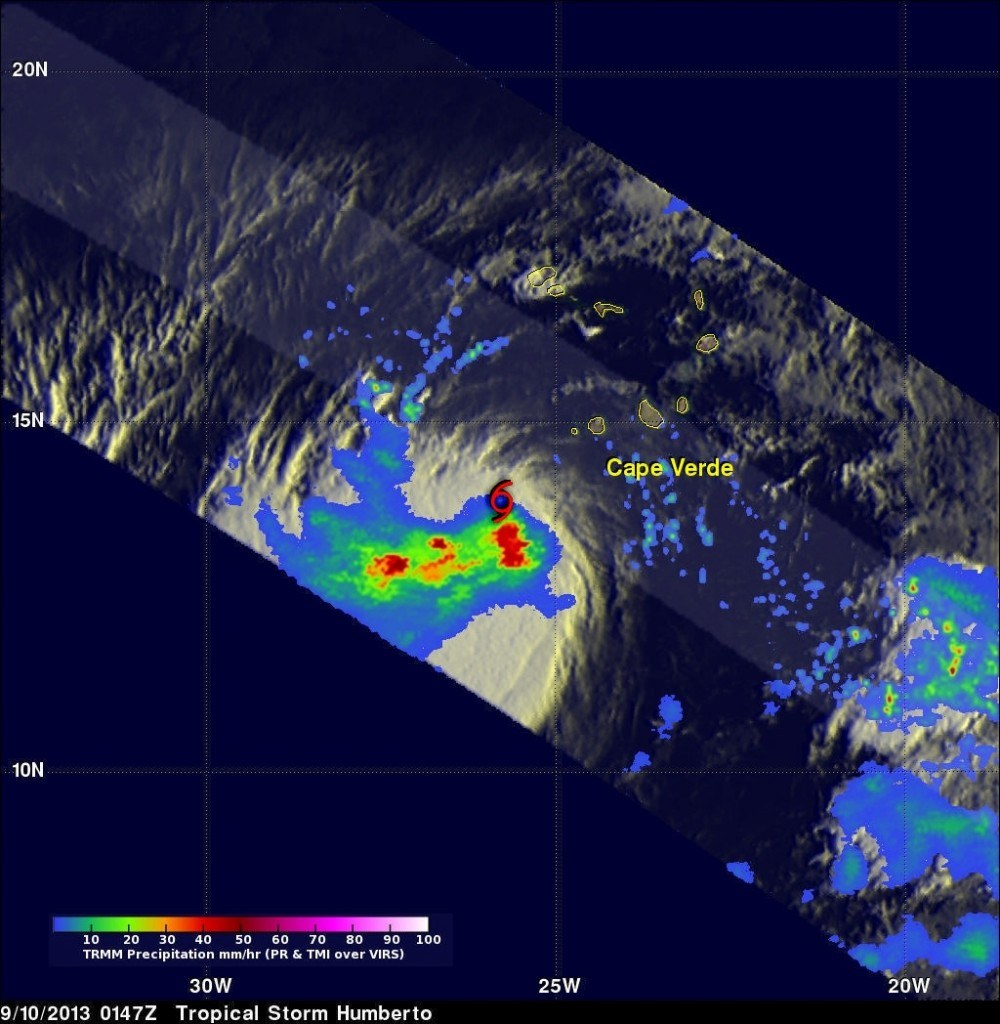 NASA's TRMM satellite showed a large area of heavy rain (red) south of Humberto's center of circulation on Sept. 9 at 9:47 p.m. EDT.  Image Credit:  SSAI/NASA, Hal Pierce