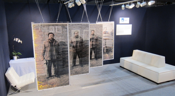 damaged photographs, To Fight with Crossed Arms, 2007, ed 4/5, by prolific Chinese contemporary artist Ai Weiwei and Hong Kong-based duo MAP Office. Photo: AXA ART