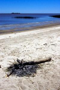 California beach bonfire