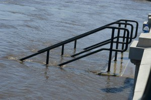 Cedar Falls, Iowa, June 11, 2008 -- This stairway goes down intot he Cedar River whichr rose to a record high of 102 feet, endangering the town of Cedar Falls, IA. Storms have inconvenienced many people throughout Iowa. Photo by Patsy Lynch/FEMA