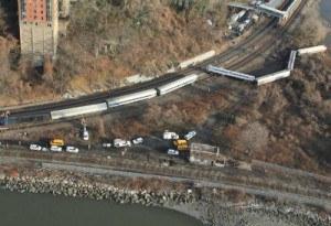 Metro North train derailment. Photo: NTSB