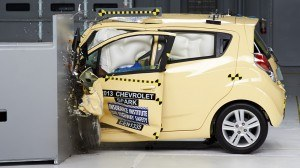 The Chevrolet Spark is the only minicar tested to earn an acceptable rating in the small overlap front test. Photo: IIHS