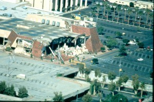 Northridge, California, 1/19/1994 --The walls and sections of the second floor of this mall department store collapsed from the 6.7 magnitude Northridge earthquake. FEMA News Photo