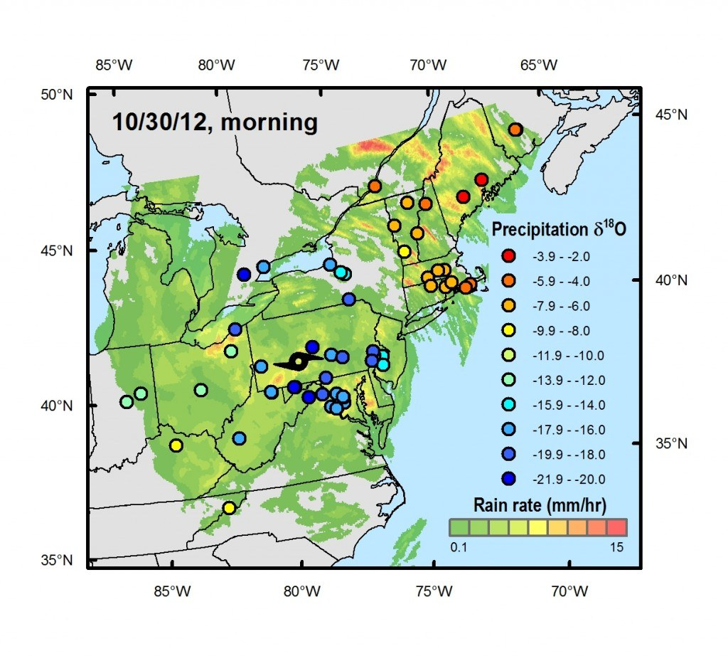 Snapshot of rainfall and oxygen-18 isotope values using crowdsourced rainwater samples collected during landfall of Superstorm Sandy. Chart: Gabe Bowen, University of Utah