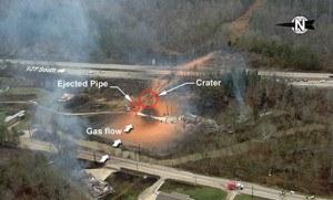 Sissonville, VA. gas pipeline bast site. Photo: NTSB