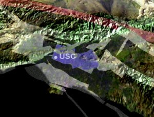"The location of the Puente Hills fault (in blue) with respect to the Los Angeles area and USC. The San Andreas fault is shown in red, and other major faults are shown in white. This image was created using ""LA3D"" software developed by Information Technology Interns at the Southern California Earthquake Center. Credit: SCEC"