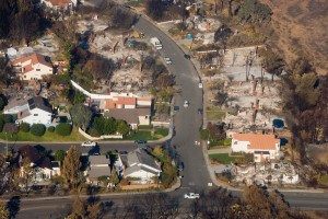 aerial photo of San Bernadino, Calif. homes destroyed by wildfire. Andrea Booher and FEMA