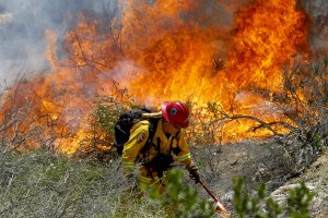 Firefighter in Carlsbad, Calif. AP Photo