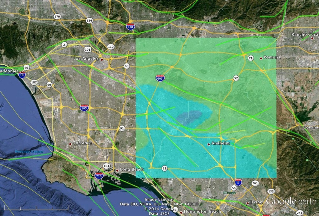 JPL scientists modeled the March 28, 2014 magnitude 5.1 quake near Los Angeles based on USGS seismic data. This model image shows how the quake may appear to airborne radar, such as NASA's UAVSAR, which will survey the area soon. Blue shades indicate the greatest surface displacement. Image Credit:  NASA/JPL-Caltech/USGS/Google Earth