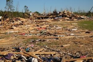 Homes are left as debris after a tornado struck the town of Louisville on April 28. Bill Kopitz/FEMA