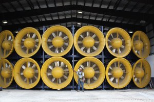 The International Hurricane Research Center features 12, six-foot tall fans capable of simulating Category 5 hurricanes to test the performance of structures and materials. Wall of Wind, Florida International University, Miami, Florida.