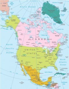 oceans surrounding North America