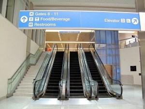 Airport terminal escalators