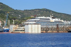 GIGLIO ISLAND ITALY - JULY 19 2014: Front view of the wreck of Costa Concordia on July 19 2014 in Giglio Island Italy.
