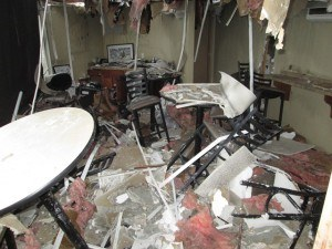 Closeup of interior stadium damage. Photo: Chubb