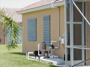Hurricane shutters. Image: Division of Emergency Management, Bureau of Mitigation, Tallahassee, Florida.