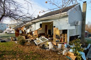 Waterfront homes on Stony Point Bay were damaged by Hurricane Sandy. Andre R. Aragon/FEMA -