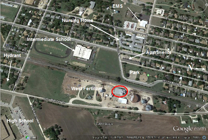 Google Earth view showing streets, schools, apartments, nursing home, and the EMS building. Photo provided by the Texas State Fire Marshal