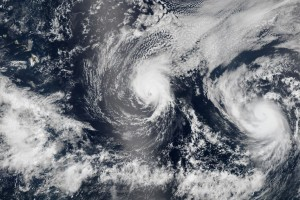 Hurricanes Iselle and Julio Nearing the Hawaiian Islands. Image Credit: NASA image by Jeff Schmaltz, LANCE/EOSDIS Rapid Response