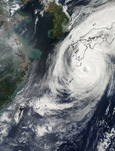 NASA's Aqua satellite captured this image of Typhoon Phanfone approaching Japan on Oct. 5 at 12:55 a.m. EDT. Image Credit:  NASA's Goddard Space Flight Center