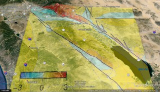 New 3D numerical modeling that captures more geometric complexity of an active fault segment in southern California than any other suggests that the overall earthquake hazard for towns on the west side of the Coachella Valley such as Palm Springs may be slightly lower than previously believed. Photo: google earth and UMass Amherst