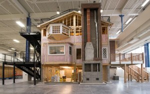 More than 400 different building materials were used in the construction of the three-story house within the Technical Learning Center at Erie Insurance.  Photo: Erie Insurance