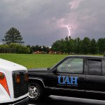 Powerful morning lightning to ground strokes can average 30,000 amps, says Dr. Themis Chronis. Photo: UAH