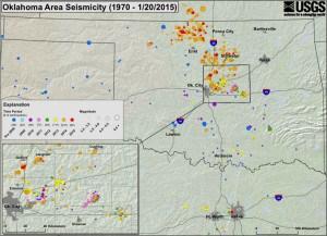 Oklahoma Seismicity Map - 1970 to January 20, 2015. Image: USGS