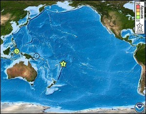Tsunami Messages for the Pacific Ocean for past 30 days. Credit: NOAA