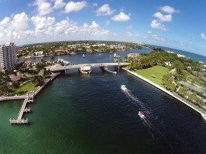 Panoramic aerial view of Florida coastline and waterways
