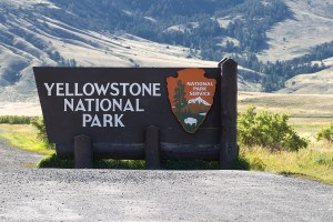 Closeup horizontal image of Yellowstone National Park sign at the north entrance in Montana